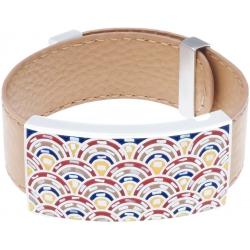 Bracelet acier - émail - nacre - cuir marron - largeur 2cm - longueur 23,5cm