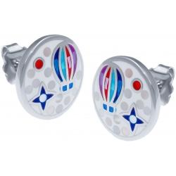 Boucles d'oreille acier - nacre - émail - montgolfière