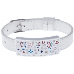 Bracelet acier - émail - nacre - montgolfière - cuir blanc - largeur 1cm - bracelet montre réglable