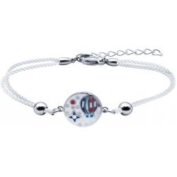 Bracelet acier - nacre - émail - montgolfière - coton blanc  - 17+3cm