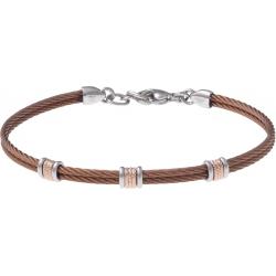 Bracelet acier - 2 câbles acier marron - composants acier rosé - 19,5+1,5cm