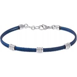 Bracelet acier - 2 câbles acier bleu - composants acier  - 19,5+1,5cm