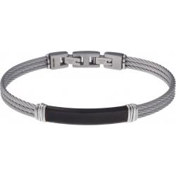 Bracelet acier - 3 câbles acier - plaque PVD noire - composants acier - 19,5+1,5cm