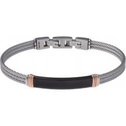 Bracelet acier - 3 câbles acier - plaque PVD noire - composants acier rosé  - 19,5+1,5cm