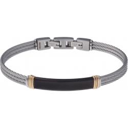 Bracelet acier - 3 câbles acier - plaque PVD noire - composants acier doré  - 19,5+1,5cm