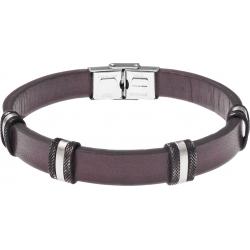Bracelet acier - cuir marron italien - largeur 1cm - 8 composants acier effet veilli - 4 composants acier - 21,5cm