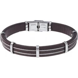 Bracelet acier - cuir marron italien - largeur 1cm - 3 cables acier - 21,5cm