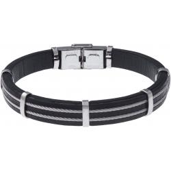 Bracelet acier - cuir noir italien - largeur 1cm - 3 cables acier - 21,5cm