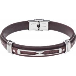 Bracelet acier - cuir marron italien - plaque et composants acier - 21,5cm
