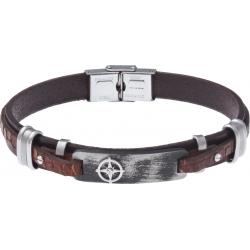 Bracelet acier - cuir marron italien - rose des vents -  plaque acier effet veilli et composants acier - 21,5cm