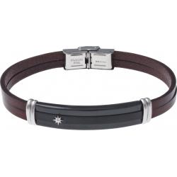 Bracelet acier - cuir marron italien2 rangs - étoile - plaque PVD noir - composants acier  - 21,5cm