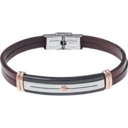 Bracelet acier - cuir marron italien 2 rangs - étoile - plaque 2 tons PVD noir et blanc - composants acier rosé - 21,5cm