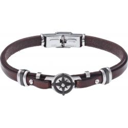 Bracelet acier - cuir marron italien - rose des vents - composants acier noir - 21,5cm