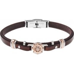 Bracelet acier - cuir marron italien - roue marine - composants acier rosé - 21,5cm