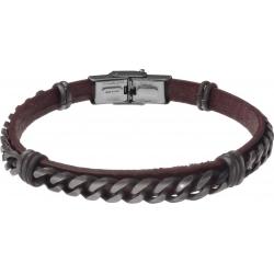 Bracelet acier - cuir marron italien - chaîne acier effet veilli - 21,5cm