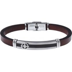 Bracelet acier - cuir marron italien - rose des vents - plaque acier 2 tons PVD noir et acier - 21,5cm