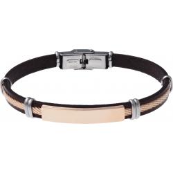Bracelet acier - cuir noir italien - plaque acier rosé - ligne acier rosé - 21,5cm