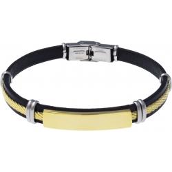 Bracelet acier - cuir noir italien - plaque acier doré - ligne acier doré - 21,5cm