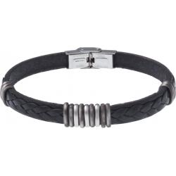Bracelet acier - cuir noir italien - 3+9+3 composants acier - 21,5cm