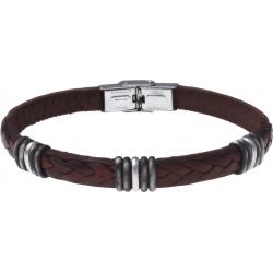 Bracelet acier - cuir marron italien - 5x3 composants acier - 21,5cm