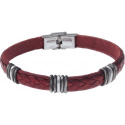 Bracelet acier - cuir rouge italien - 5x3 composants acier - 21,5cm