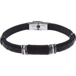 Bracelet acier - cuir noir italien - cordon noir  composants acier - 21,5cm