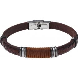 Bracelet acier - cuir marron italien - cordon marron - composants acier - 21,5cm