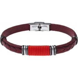 Bracelet acier - cuir rouge italien - cordon rouge - composants acier - 21,5cm
