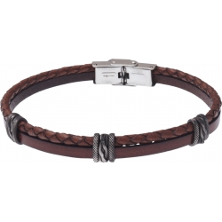 Bracelet acier - cuir et cuir tressé italien marron - composants acier effet veilli - 21,5cm