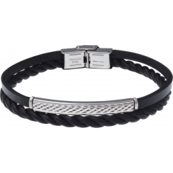 Bracelet acier - cuir 2 rangs et cuir tressé italien noir - plaque acier 4cm - 21,5cm