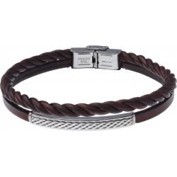 Bracelet acier - cuir 2 rangs et cuir tressé italien marron - plaque acier 4cm - 21,5cm