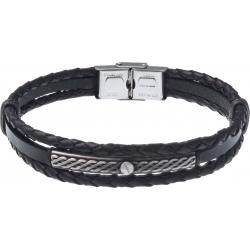 Bracelet acier - cuir italien noir 2 rangs tressés et 1 lisse -  plaquer acier effet veilli, 1 vis - 21,5cm