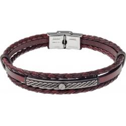 Bracelet acier - cuir italien marron 2 rangs tressés et 1 lisse -  plaquer acier effet veilli, 1 vis - 21,5cm