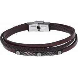Bracelet acier - cuir italien marron 3 rangs tressés et 1 lisse -  plaquer acier effet veilli, 3 vis - 21,5cm