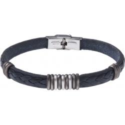 Bracelet acier - cuir bleu italien - 3+9+3 composants acier - 21,5cm