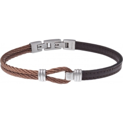 Bracelet acier - cuir marron - nœud marin - 2 câbles acier marron - 19,5+1,5cm