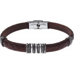 Bracelet acier - cuir marron italien - 3+9+3 composants acier - 21,5cm