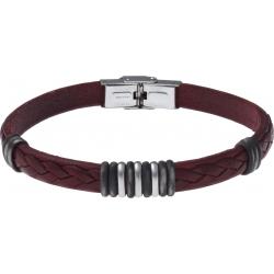 Bracelet acier - cuir rouge italien - 3+9+3 composants acier - 21,5cm