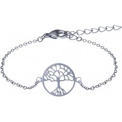 Bracelet acier - arbre de vie - nacre - diamètre 14mm - longueur 16+4cm