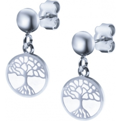 Boucles d'oreille acier - arbre de vie - nacre - diamètre 14mm
