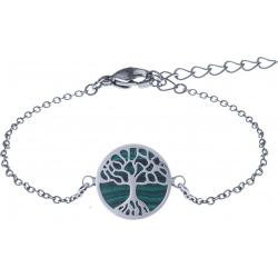 Bracelet acier - arbre de vie - malachite - diamètre 14mm - longueur 16+4cm