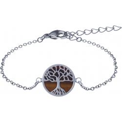 Bracelet acier - arbre de vie - œil de tigre - diamètre 14mm - longueur 16+4cm