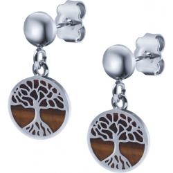 Boucles d'oreille acier - arbre de vie - œil de tigre - diamètre 14mm