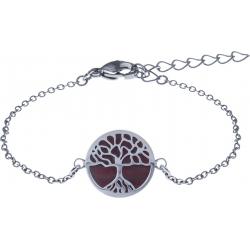 Bracelet acier - arbre de vie - agate rouge - diamètre 14mm - longueur 16+4cm
