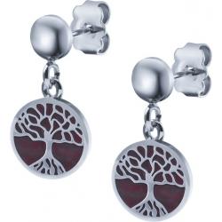 Boucles d'oreille acier - arbre de vie - agate rouge - diamètre 14mm