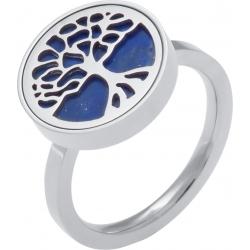Bague en acier - arbre de vie - lapiz lazuli - diamètre 14mm - T50 à 62