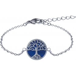 Bracelet acier - arbre de vie - lapiz lazuli - diamètre 14mm - longueur 16+4cm