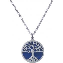 Collier acier - arbre de vie - lapiz lazuli - diamètre 18mm - longueur 40+5cm