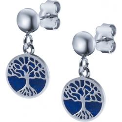 Boucles d'oreille acier - arbre de vie - lapiz lazuli - diamètre 14mm