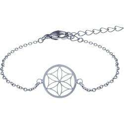 Bracelet acier - fleur de vie - nacre - diamètre 14mm - longueur 16+4cm